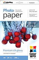 Фотобумага ColorWay шелковисто-глянцевая, эффект 'ткани', 260 г/м2, A4, 20 л (PSI260020A4)