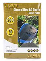 Фотобумага Crystal глянец, A6 (10x15), 260 г/м, 50 шт, пластиковое покрытие