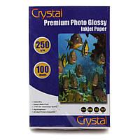 Фотобумага Crystal глянцевая, A6 (10x15), 250 г/м, 100 шт