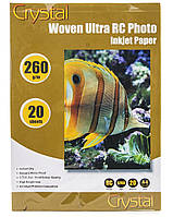 Фотобумага Crystal полотно, A4, 260 г/м, 20 шт, пластиковое покрытие