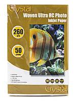 Фотобумага Crystal полотно, A6 (10x15), 260 г/м, 50 шт, пластиковое покрытие