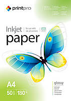 Фотобумага PrintPro глянцевая, A4, 180 г/м, 50 шт (PGE180050A4)
