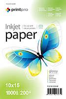 Фотобумага PrintPro глянцевая, A6 (10x15), 200 г/м, 1000 шт (PGE20010004R)