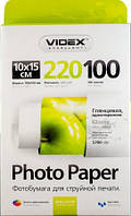 Фотобумага Videx глянцевая, A6 (10x15), 220 г/м, 100 шт (HGA6 220/100)