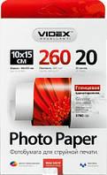 Фотобумага Videx глянцевая, A6 (10x15), 260 г/м, 20 л (HGA6 260/20)