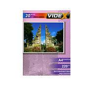 Фотобумага Videx двухсторонняя, матовая, A4, 220 г/м, 20 л (MMA4 220/20)