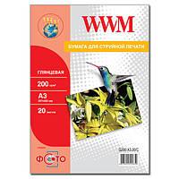 Фотобумага WWM, глянцевая, 200 г/м2, A3, 20л (G200.A3.20/C)