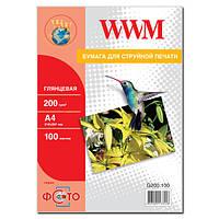 Фотобумага WWM, глянцевая, 200 г/м2, A4, 100л (G200.100)