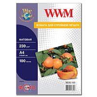 Фотобумага WWM, матовая, 230 г/м2, A4, 100л (M230.100)