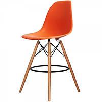 Стул барный Тауэр Вуд оранжевый на деревянных ножках, 53х57х108,5 см