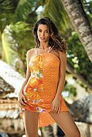 Яркая цветочная пляжная туника