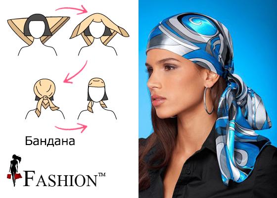 Схема попязки платка на голову