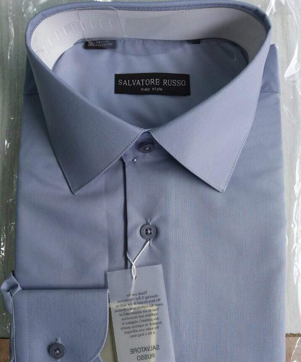 Рубашка мужская Salvatore Russo модель 5011 серо-синяя