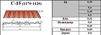Профнастил заборный С-15 0,5 мм оцинкованный