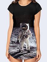 Модная женская туника с коротким рукавом Человек на Луне с оригинальным принтом/рисунком.