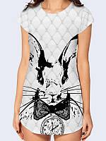 """Женская туника короткий рукав c красочным 3D рисунком/принтом """"Сказочный Кролик"""" от 42 по 50 размер."""