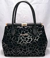 Женская сумка Michael Kors (Майкл Корс), чёрная с узором