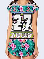 Женская туника/футболка 3D Victory 27 с креативным цветочным рисунком на лето из легкой ткани.