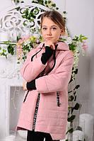 Демисезонная куртка модного покроя с сьемным манжетом