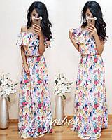 Платье женское длинное с открытыми плечами
