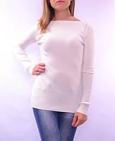 Классический пуловер, вязка в рубчик, белый