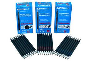 Ручка кулькова А plus 0,7 мм синя автомат корпус чорний