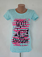 """Футболка меланжевая """"You are enough"""" - голубой"""