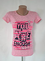 """Футболка меланжевая """"You are enough"""" - розовый"""