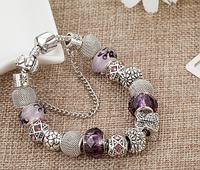 Женский браслет в стиле Пандора фиолетовый