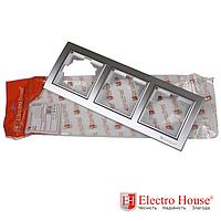 Рамка тройная серебро Enzo EH-2202-ST