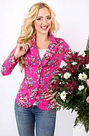 Коттоновый женский пиджак с цветочным принтом