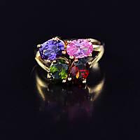 Восхитительное кольцо с фианитами оптом 10-1130-мультиколор-19