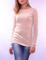 Классический пуловер, вязка в рубчик, слоновая кость
