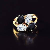 Восхитительное кольцо с фианитами оптом 10-1130-черно-белый-16