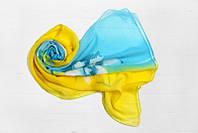 Шифоновый шарф Вильена Лилия, голубой/желтый
