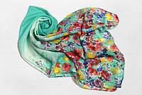 Шифоновый шарф Вильена Цветы, бирюза