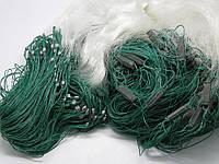 Сеть рыболовная из лески, одностенка,ячейка 22мм,длина100м,высота1.8м,цвет белый