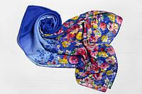 Шифоновый шарф Вильена Цветы, синий