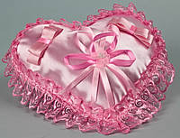 "Подушечка для колец ""Сердце"" розовая"