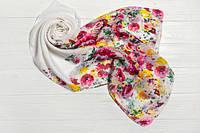 Шифоновый шарф Вильена Цветы, белый