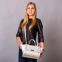 Интересная белая женская сумка - золото в коллекции весны 2017  art. 1349wr