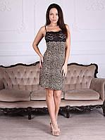 Ночная сорочка вискозная красивого леопардового цвета с чёрным кружевом