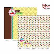 """Бумага для скрапа """"Cake dilicious 1"""", двусторонняя, 30*30 см, 200 г/м2, ROSA Talant, 5316019"""