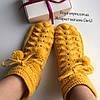 """Шикарные теплые шерстяные носочки  """"Merino"""" жёлтые ручной работы, в подарочной упаковке."""