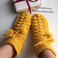 """Шикарные теплые шерстяные носочки  """"Merino"""" жёлтые ручной работы, в подарочной упаковке., фото 1"""