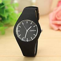 Силиконовые наручные часы Geneva, Черный, Унисекс, фото 1