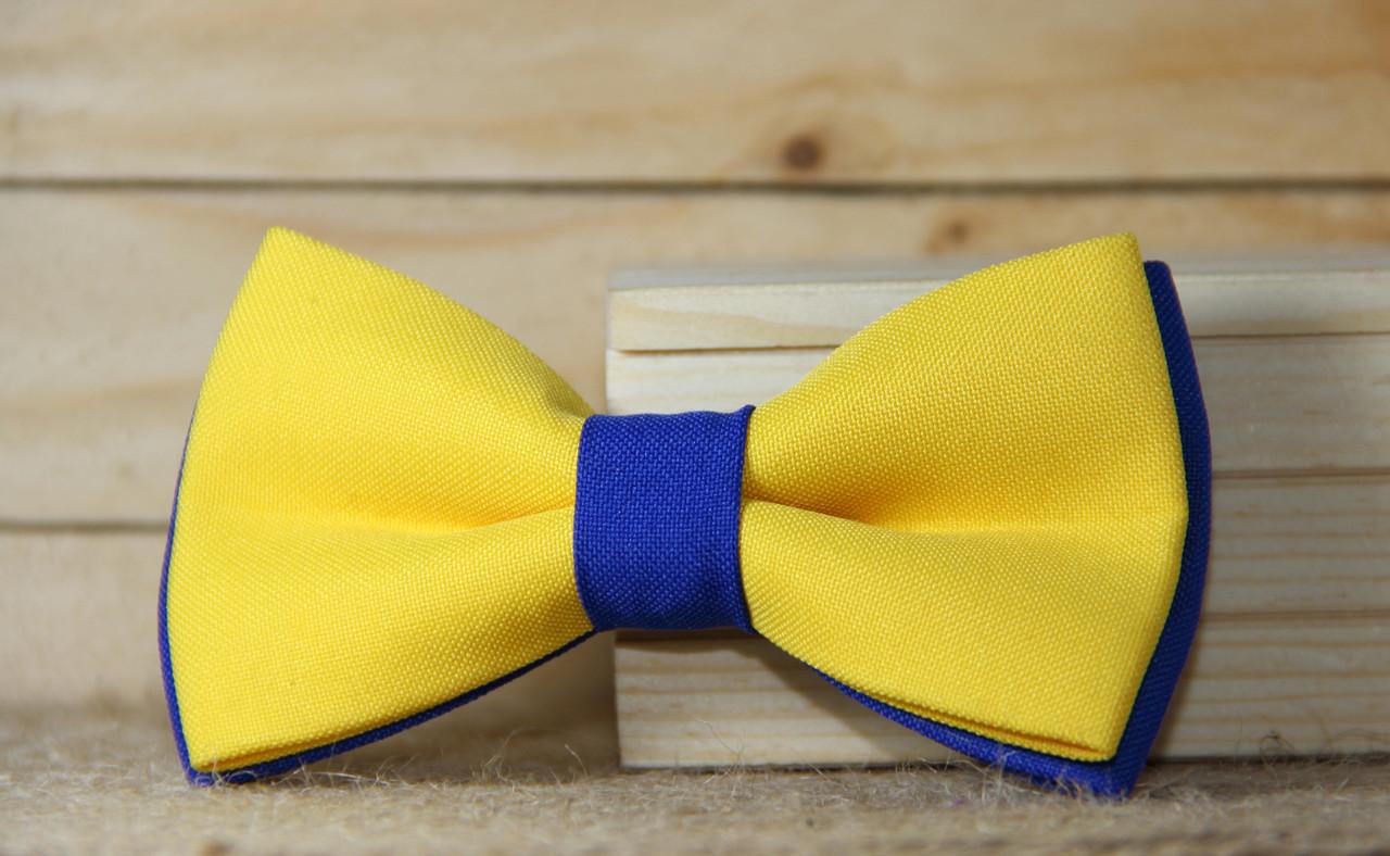 Галстук-бабочка I&M Craft двухцветный жёлтый с синим (050059)
