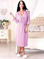 Халат вискозный красивого лилового цвета с изысканным кружевом