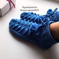 """Шикарные теплые шерстяные носочки  """"Merino"""" голубые ручной работы, в подарочной упаковке."""
