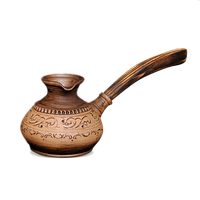 Турка глиняная с деревянной ручкой «Шляхтянская»AG0723Покутская керамика